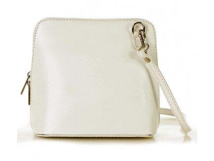 Bagel kožená kabelka MAZZINI - Foggia Lux bílá