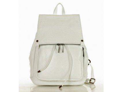 Praktický dámský batoh GIORNO pravá kůže; bílá