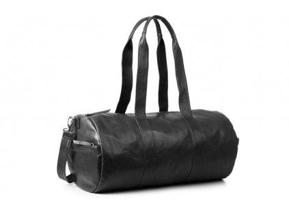 Exkluzivní cestovní a fitness taška z pravé hověziny; černá
