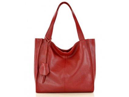 Módní italská kožená kabelka shopper MAZZINI; burgundy