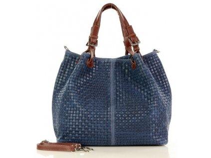 Italská kožená taška MAZZINI GIULIA; modrá