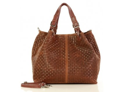 Italská kožená taška MAZZINI GIULIA; hnědá