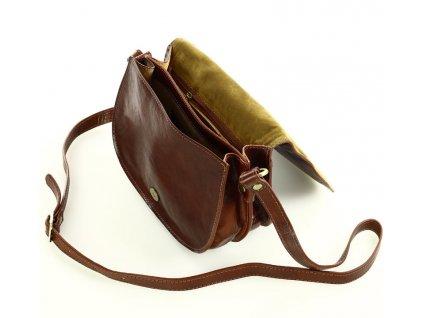 Menší kožená italská crossbody kabelka Mazzini; hnědá