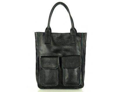 Značková shopper taška s kapsami MAZZINI; černá