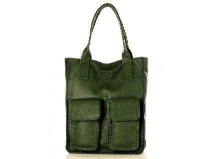 Značková shopper taška s kapsami MAZZINI; zelená