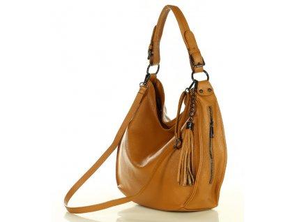 Elegantní italská kabelka MARCO MAZZINI kožená; hnědá