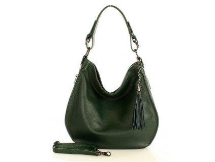 Elegantní italská kabelka MARCO MAZZINI kožená; tmavě zelená