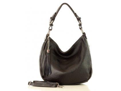 Elegantní městská kožená taška MAZZINI; černá