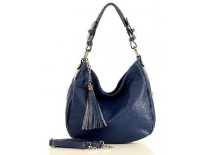 MARCO MAZZINI Elegantní městská kožená taška; namořní modř