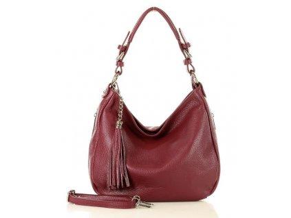 Elegantní městská kožená taška MAZZINI; tmavě červená