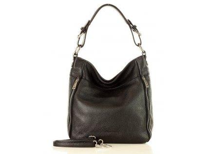 MARCO MAZZINI Italská kožená taška přes rameno; černá