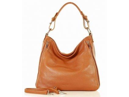 Elegantní italská kožená taška MAZZINI přes rameno; hnědá