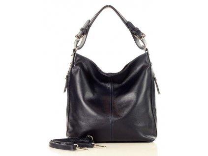 MARCO MAZZINI Elegantní kožená taška přes rameno; modrá