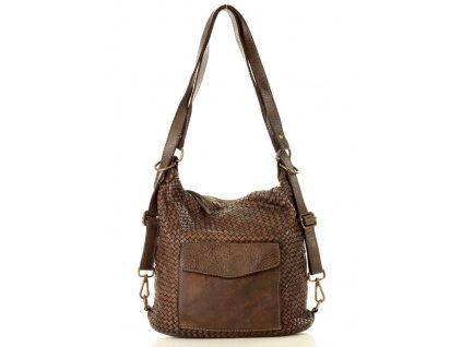 Italská kabelka MARCO MAZZINI s kapsou; tmavě hnědá