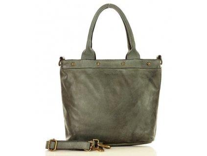 MARCO MAZZINI Vintage kožená kabelka; šedá