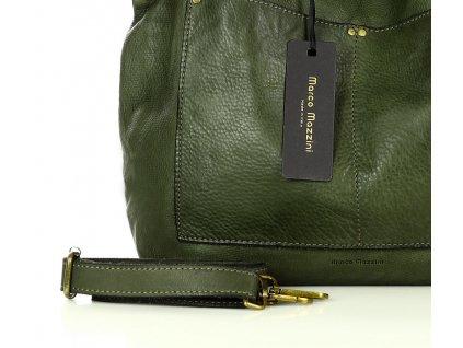 MARCO MAZZINI Kožená kabelka vintage shopper; zelená