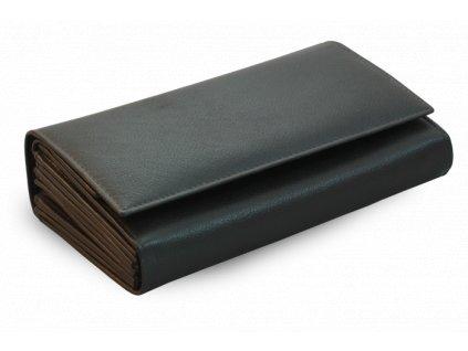 Číšnická peněženka z pravé kůže s klopnovou kapsou - česká výroba; černá