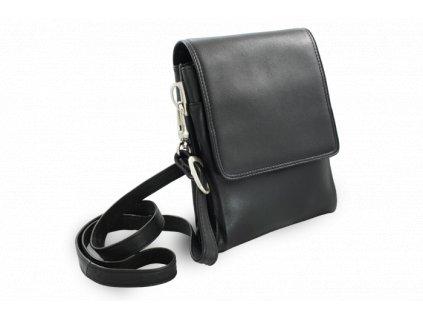 Malý černý kožený pánský crossbag, česká výroba; černá