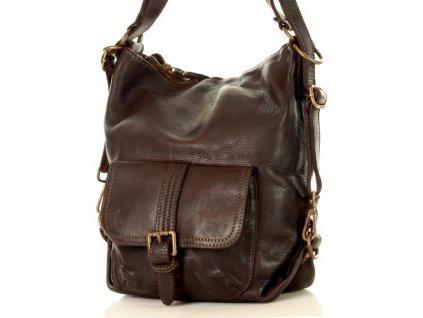Italská kožená kabelka i batoh MAZZINI; tmavě hnědá