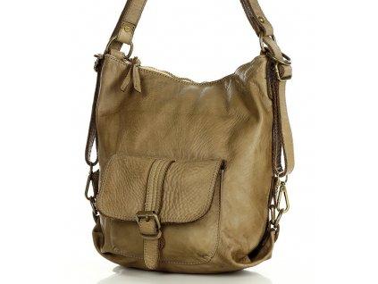 MARCO MAZZINI Kožená kabelka i batoh; béžová