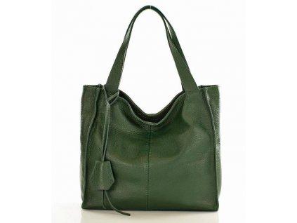 Módní kožená kabelka shopper MAZZINI; zelená