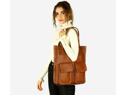 Značková shopper taška s kapsami MAZZINI; hnědá