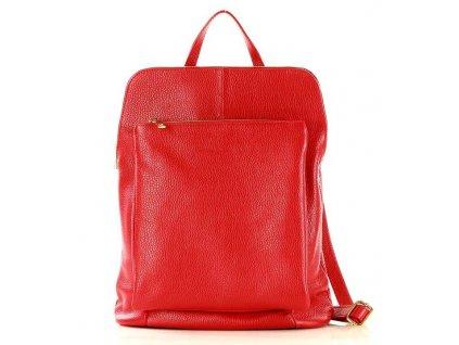 Stylový italský kožený dámský batoh MAZZINI; červený
