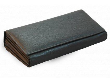 Kožená číšnická peněženka s klopnovou kapsou na mince - česká výroba; černá
