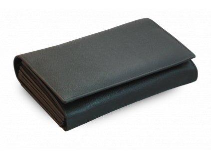 Kožená číšnická peněženka s přehlednou kapsou na mince - česká výroba; černá