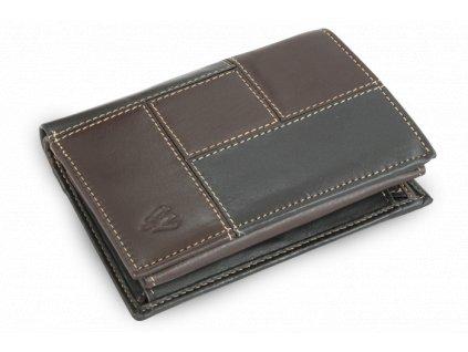 Pánská kožená peněženka se zajištěním dokladů - česká výroba; hnědá a černá