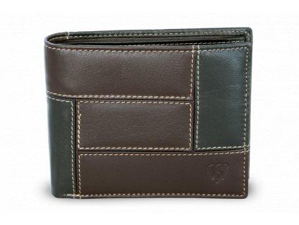 Pánská kožená peněženka v kombinaci - česká výroba; černá a hnědá