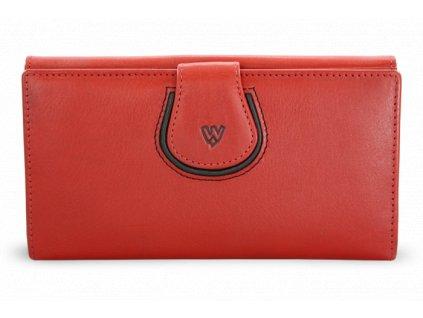 Dámská kožená rámová peněženka s ozdobnou klopnou - česká výroba; červená