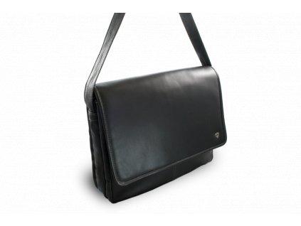 Kožená taška na notebook - česká výroba; černá