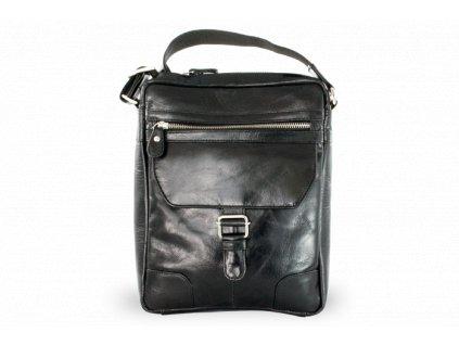Pánský kožený zipový crossbag - česká výroba; černá