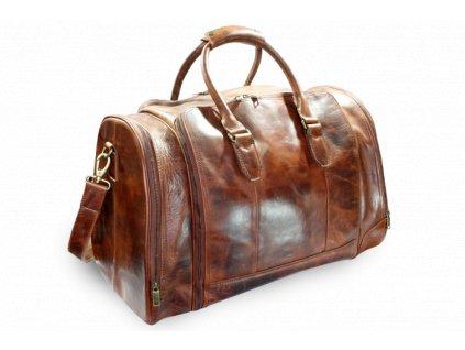 Luxusní cestovní kožená taška s kapsou na notebook - česká výroba; koňak