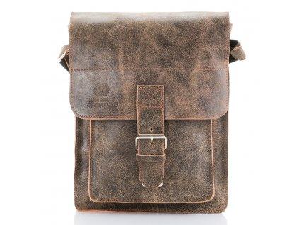 Pánská kožená taška přes rameno Paolo Peruzzi Adventure; světle hnědá
