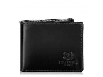 Značková italská pánská peněženka z pravé kůže; černá