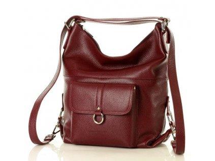 Italská kabelka i batoh MAZZINI z přírodní kůže; bordó