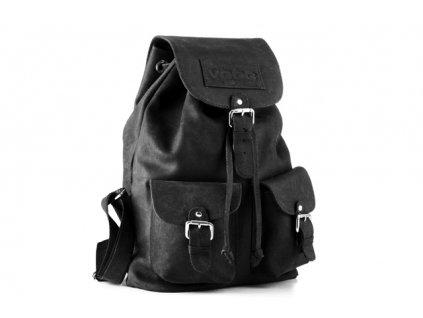 Velký městský batoh z pravé kůže, ručně šitý; černá