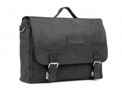Ručně šitá velká business URBAN kožená taška; černá