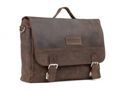 Ručně šitá velká business URBAN kožená taška; hnědá