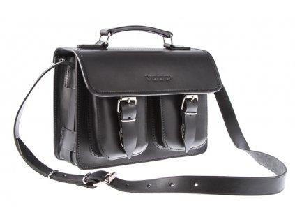 Menší stylová kožená taška VOOC Vintage; černá