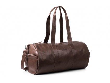 Velká kožená cestovní taška VOOC z pravé kůže; hnědá