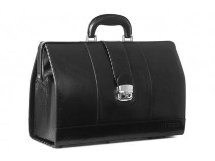 Prestižní lékařský kufřík z pravé kůže; černá