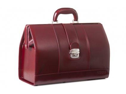 Prestižní lékařský kufřík z pravé kůže; vínová