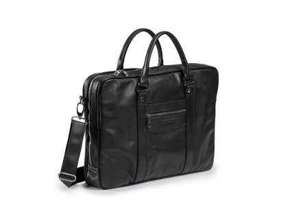 Kožená taška na notebook Prestige; černá