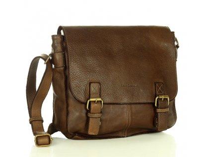Pánská ramenní taška Marco Mazzini z pravé kůže ručně vyráběná; čokoláda