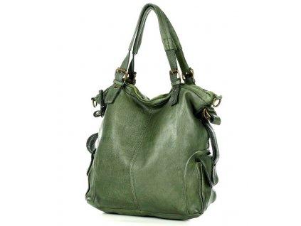 Městská kožená taška s nastavitelnou rukojetí MAZZINI ručně vyráběná; tmavě zelená