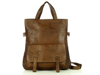 Kožená kabelka i batoh MARCO MAZZINI; čokoládově hnědá