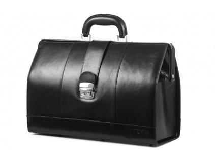 Kožený lékařský kufřík Prestige; černá